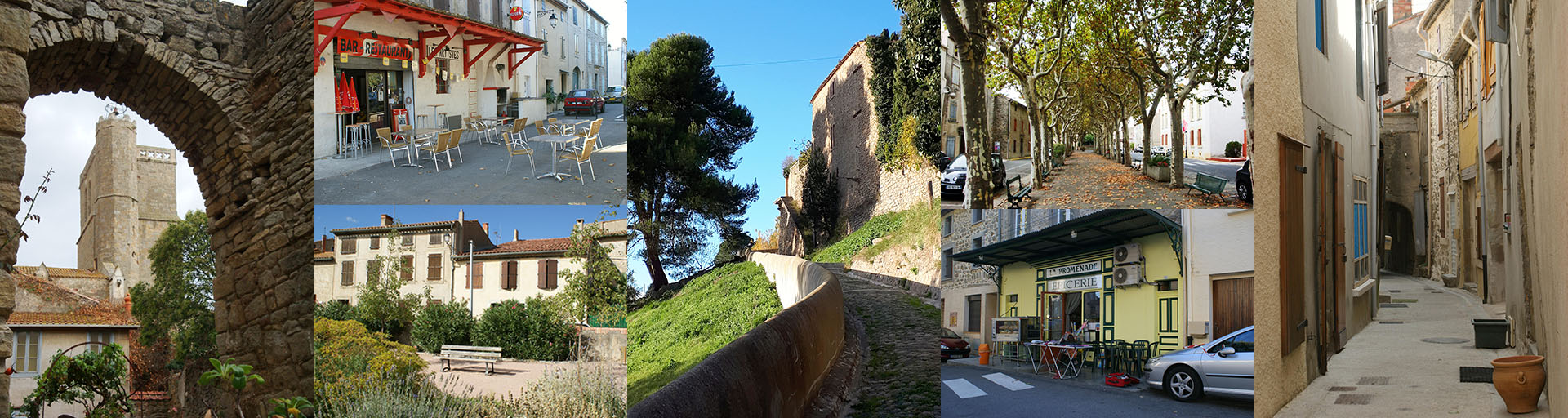 Azille scenes - Archway, Bar/Cafe, Park, Path and wall, Main promenade, Epicerie, Narrow streetscape
